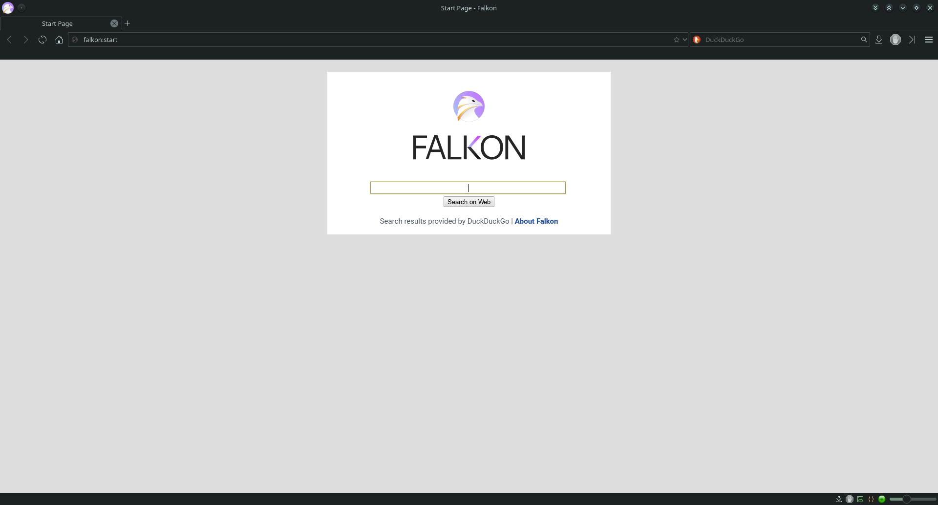 Falkon Browser-01-Start Page
