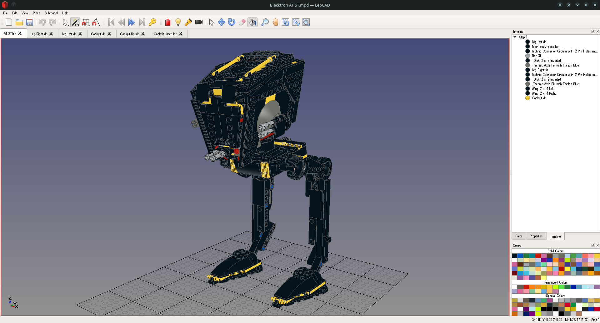 LeoCAD-10-Blackktron AT-ST.png