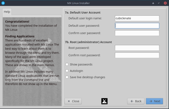 MX Linux-10-User Account