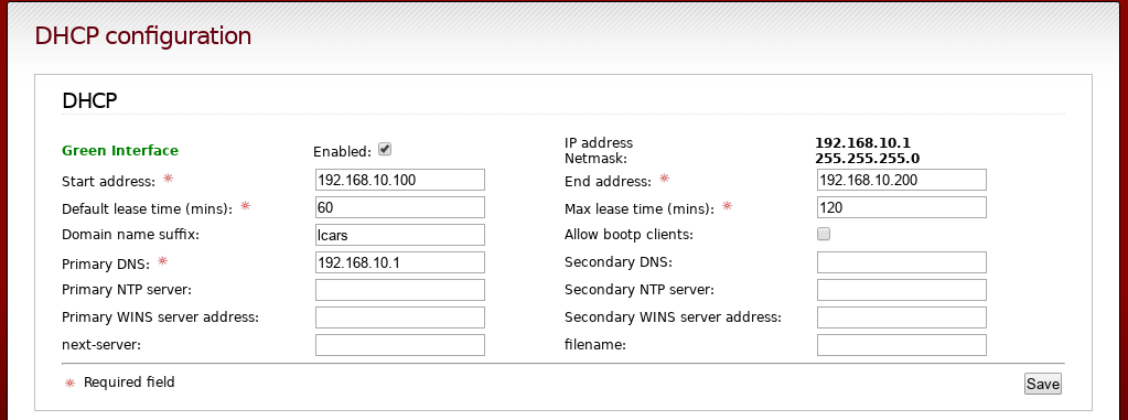 ipfire-29-dhcp configuration