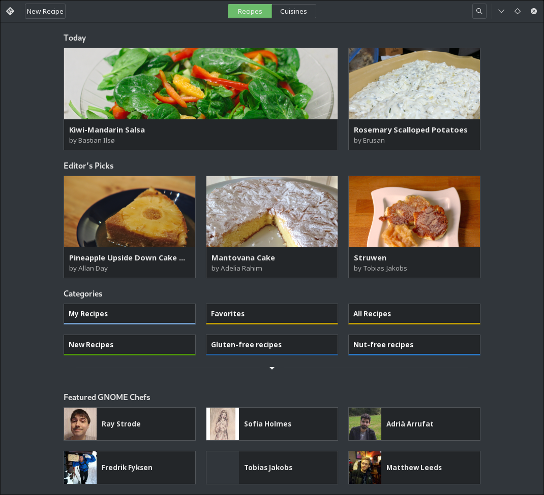 Gnome-Recipes openSUSE Breeze Dark