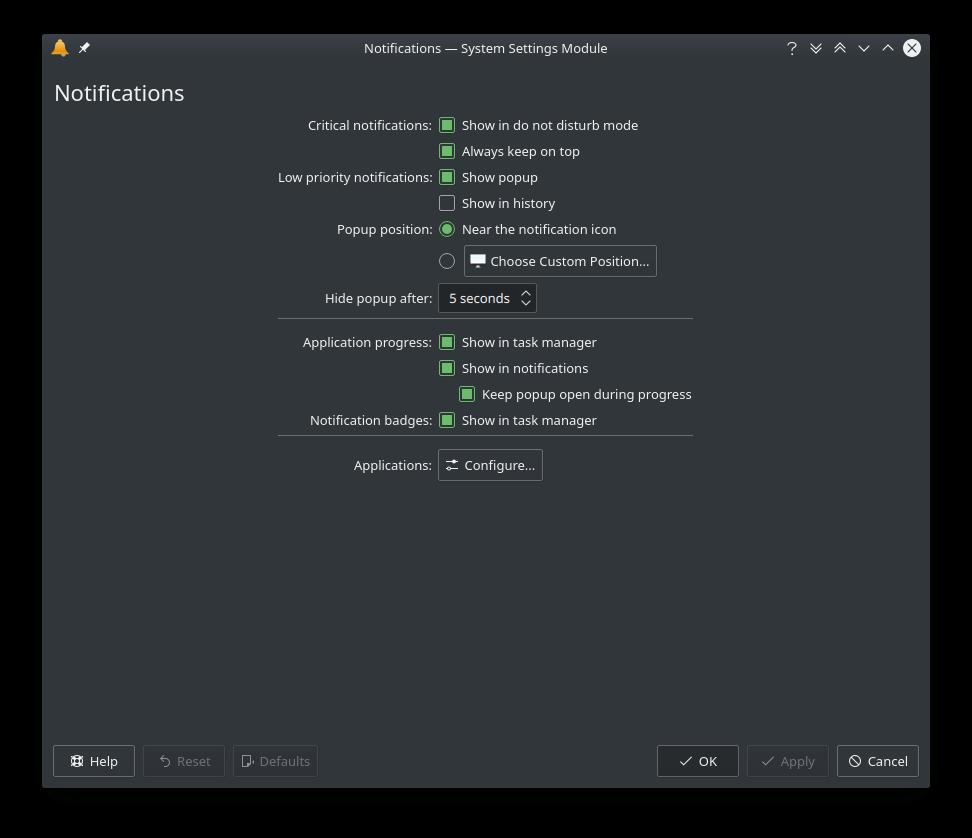 KDE Plasma 5.16.0 Notificaiton Configuration