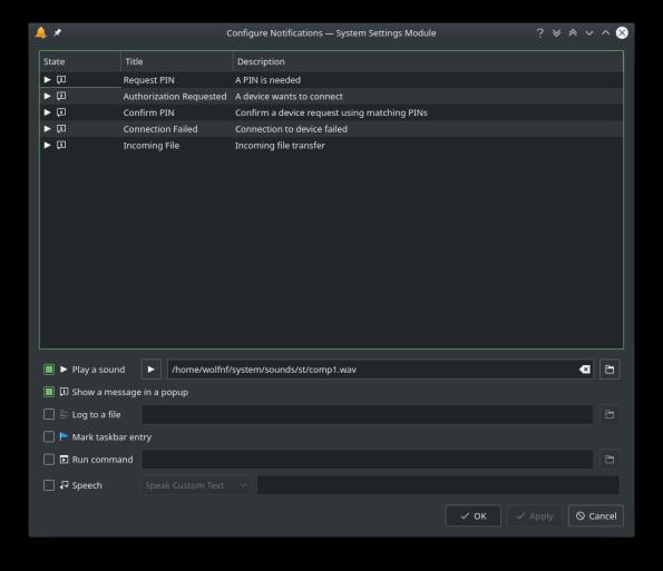 KDE Plasma 5.16.0 Notification 3 Configure details