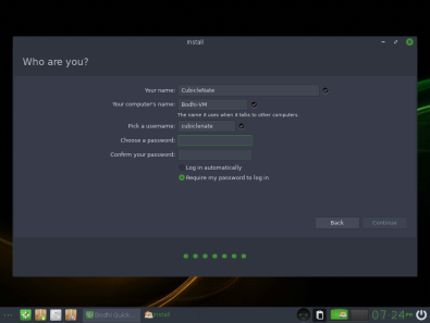 Bodhi Linux 13 Install User
