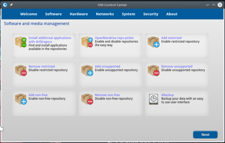 OpenMandriva 31 Control Center Software