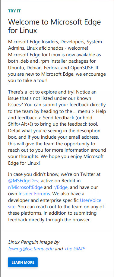 Edge Browser 08 Welcome to MS Edge Linux